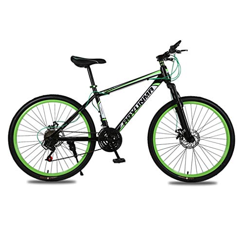 26 Inch Adult Mountain Bikes - Mountain Trail Bike for Men and Women,High Carbon Steel Full Suspension Frame Bicycles,21 Speed Gears Dual Disc Brakes Mountain Bicycle (Color : Black and Green)