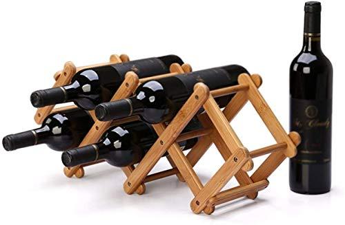 TUHFG Estante de vino plegable de bambú para botellas de vino, 5 botellas de almacenamiento, para encimera, accesorios de vino, 53,5 x 15 x 21,5 cm A+