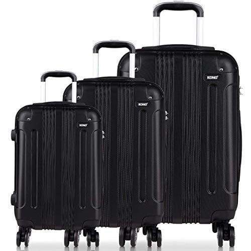 Kono Luggage Sets ABS Hard Shell Suitcases 3 Pieces 20' 24' 28' Inches 4 Wheels Suitcase (V Black Set) K1777 BK Set