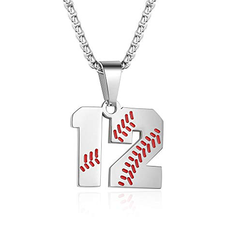 TLIWWF Inspiration Baseball Jersey Number Necklace Stainless Steel Charms Number Pendant for Boys Men (12)