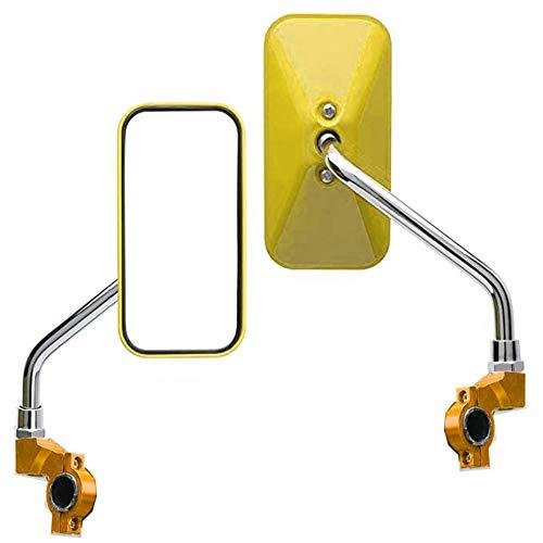 Fietsachteruitkijkspiegel, 2 stuks, 360 graden draaibaar, 118 x 60 mm, platte spiegel voor MTB-fietsen, rolstoel, bromfiets, rollator, racefiets, E-bike goud