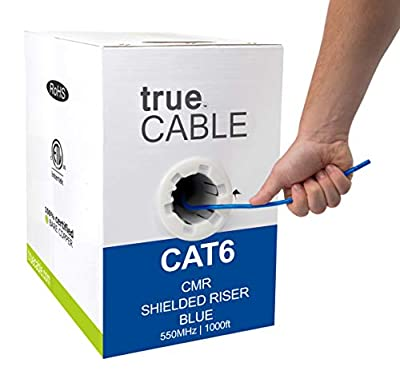 trueCABLE Cat6 Shielded Riser (CMR), 1000ft, 23AWG Solid Bare Copper, 550MHz, ETL Listed, Overall Foil Shield (FTP), Bulk Ethernet Cable