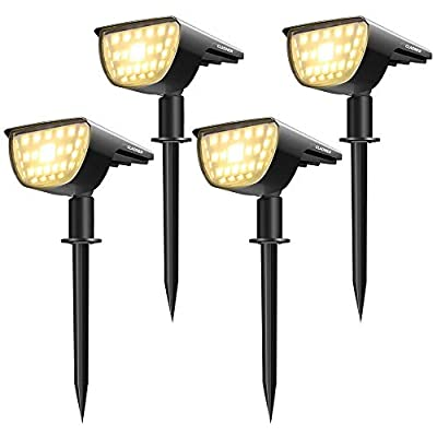 Claoner 32 LED Solar Landscape Spotlights, Wireless Waterproof Solar Landscaping Spotlights Outdoor Solar Powered Wall Lights for Yard Garden Driveway Porch Walkway Pool Patio- Warm White(4 Pack)