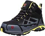 LARNMERN Zapatos de Seguridad Hombre, Sra Antideslizante Anti Estático Zapatos de Trabajo S1P Zapatos Seguridad (43 EU,Gris Negro)