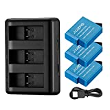 JYJZPB HERO8 Replacement Batteries (3 Packs) and 3 Slots Battery Charger AHDBT-801 Backup Batteries for GoPro Hero 8/7/6/5 Black and GoPro Hero 2018