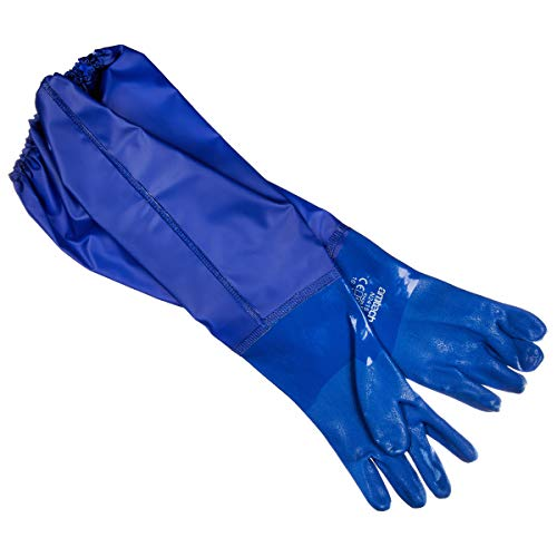 Amtech N2415 PVC Teich- und Abflusshandschuhe XL (Größe 10), lang und zertifizierte Qualität für Schutzarbeiten, blau