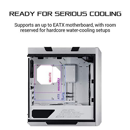 Asus ROG Strix Helios White Edition ATX Mid Tower Gaming Case, con tre pannelli di vetro temperato fumé e raffinata struttura in alluminio spazzolato e tecnologia Aura Sync
