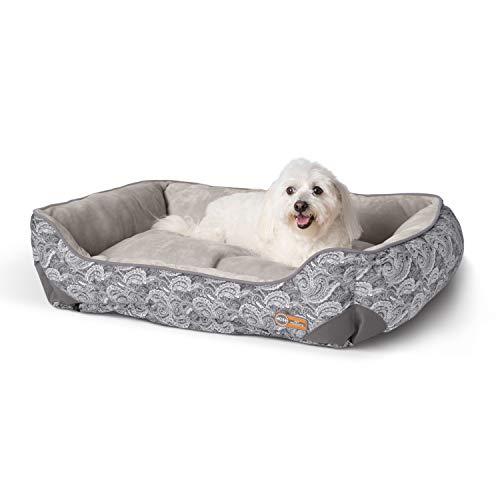 K&H Pet Products Self-Warming Lounge Sleeper Dog Bed, Medium (24' x 30'), Gray Paisley