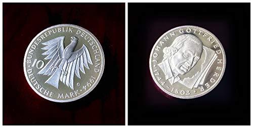 Deutschland (1994) 10 DM Silbermünze - 250. Geburtstag von Johann Gottfried Herder, 625er Silber (Spiegelglanz, PP, Proof)