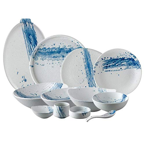 XBR Nuevos Juegos de vajilla, Juego de vajilla de cerámica, 42 Piezas de Platos y Cuencos de Tinta Azul Splash para Restaurante/Juego de Cena de Porcelana de Forma Irregular Mate