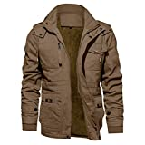 KEFITEVD 防寒コート 無地 フード 付き 上着 メンズ カジュアル ジャンパー 冬物 ボアパーカー カーキ XL=JP M