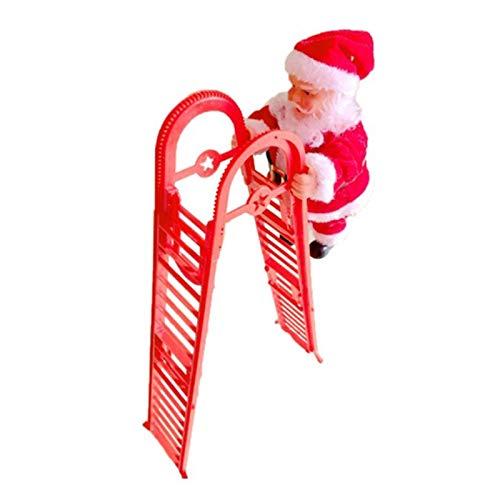 Escalera EléCtrica De Escalada De Papá Noel, MuñEco De Peluche De Puerta Santa Claus De Doble Pista Creativo Mejorado Con MúSica, Colgante De La DecoracióN Del Hogar Del Partido (rojo, Escalera curva)