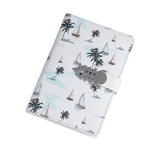 Libreta cuero, diario de Viaje,Cuaderno retro, Diario de Cuero con contraseña para Dibujar y Escribir,TPN147 blanco