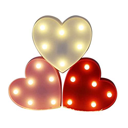 Cobeky Luz de corazón Carpa para boda LED amor luces noche lámpara para niños Navidad fiesta decoración 3 piezas