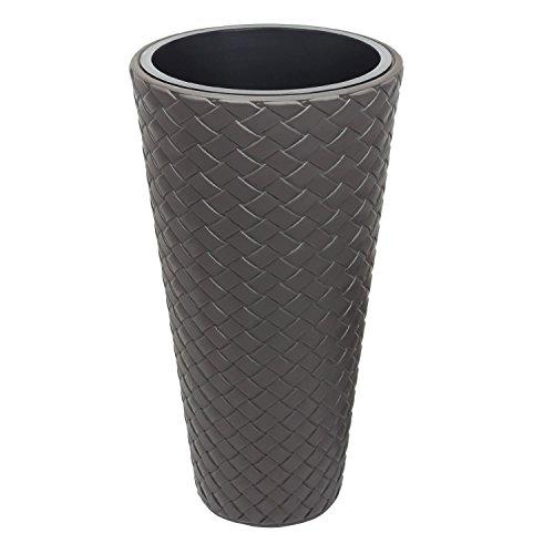 Vaso per piante Matuba Slim con inserto, altezza 78,5 cm, colore: marrone grigiastro