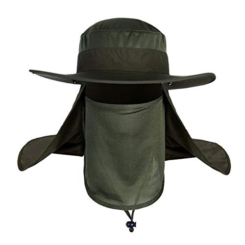 Fashion Outdoor UPF 50+ UV Sun Protection Waterproof Breathable Face Neck Flap Cover Folding Sun Hat for Men/Women (Sun hat4-Green)