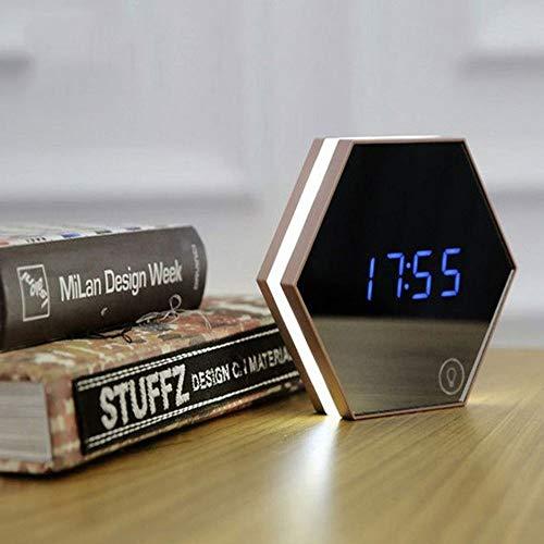 LCSD Reloj despertador multifunción con espejo y alarma, termómetro de luz digital, LED, espejo de maquillaje, luz nocturna, lámpara de mesa, recargable, 137 x 137 x 35 mm (color: dorado)