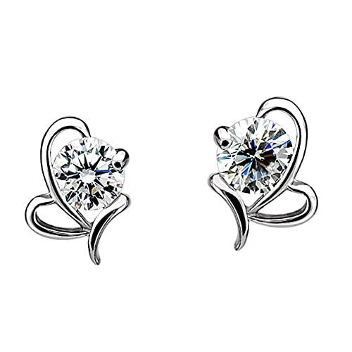 VCMUTRL Orecchini in argento Sterling 925, orecchini da donna, a forma di cuore, con pietra portafortuna portafortuna a forma di cuore, idea regalo per mamma, donna, ragazza