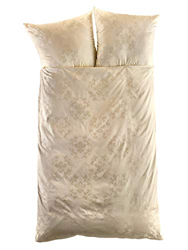 Curt Bauer Mako-Brokat-Damast Bettwäsche Josephine Champagner 1 Bettbezug 135 x 200 cm + 1 Kissenbezug 80 x 80 cm