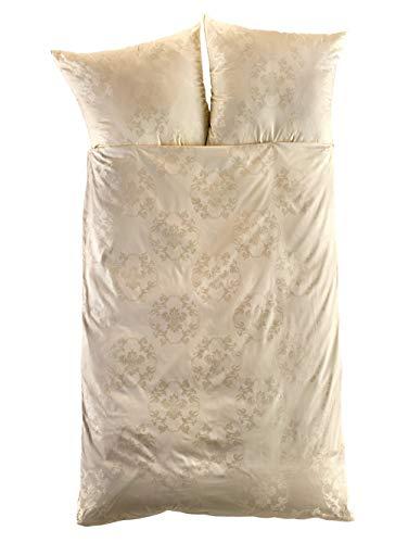 Curt Bauer Mako-Brokat-Damast Bettwäsche Josephine Champagner 1 Bettbezug 135x200 cm + 1 Kissenbezug 80x80 cm
