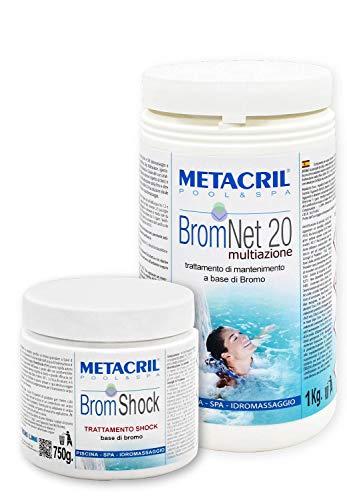 Metacril BromNet 20 Multiaz. 1 kg + BromShock 750 g Bromo Multiacción Past.20 gr para piscina e hidromasaje (Teuco, Jacuzzi, Dimhora, Intex, Bestway) - Pedición inmediata