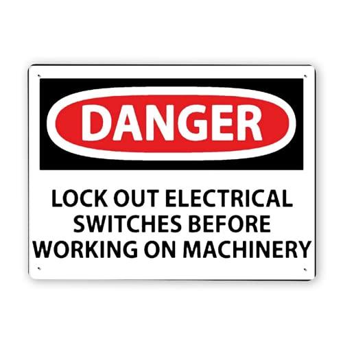 Señal de advertencia, PELIGRO Bloqueo de interruptores eléctricos, Señal de tráfico Señal de tráfico Señal comercial