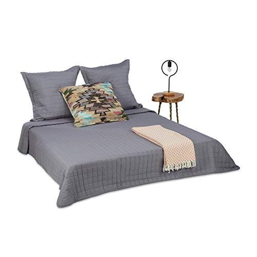 Relaxdays Couvre-lit dessus de lit matelassé gris couverture jetée de lit 220 x 240 cm 2 taies d'oreiller 80x80 cm, gris