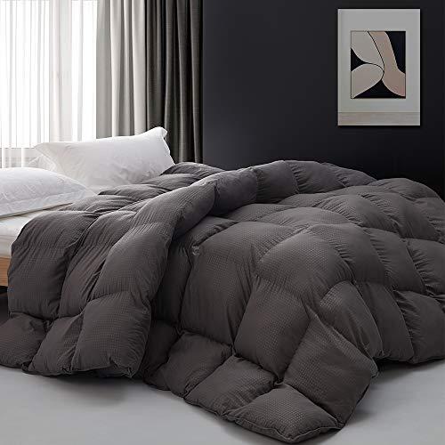 Alternative Daunendecke für King-Size-Bett, mit Gittereinsatz, für alle Jahreszeiten, hypoallergen, maschinenwaschbar (grau, King-Size)