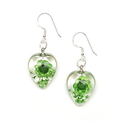 Idin Handmade Earrings - Green pressed flower in clear heart resin drop earrings handmade with real flower - sterling silver ear wire (length: 4.5 cm, pendant 1.5 x 2 cm)