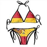 Mujeres España Bandera Bikini de dos piezas Conjuntos para mujeres Sexy Push up Swimwear Summer Tube Top Sling Split Two Piece Beach Swimsuits