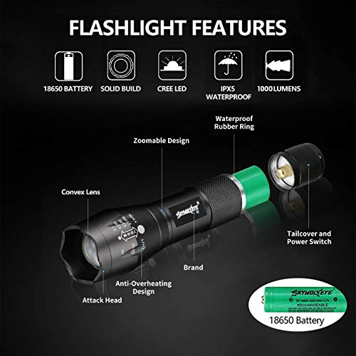 Tokeyla 5 modes handheld mini led flashlight with 4 pcs 18650 rechargeable battery and two slot charger high lumens led waterproof handheld flashlight for camping biking hiking outdoor emergency