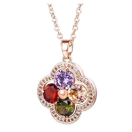 Maple Leaf Collar De CircóN para Mujer, Colgante Hueco De Oro Rosa