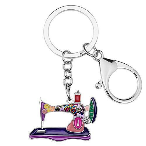 NAMOMEI Legering Emaille Strass Naaimachine Sleutelhangers Sleutelhangers Ring Trendy Sieraden Voor Vrouwen Meisjes Tas Charms Gift Nieuw