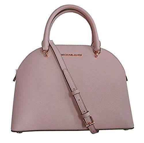 Michael Kors Emmy (Blossom) Dome Satchel Saffiano Leather Shoulder Bag Purse Handbag