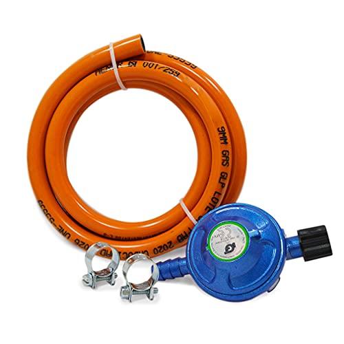 S&M 322150 Kit Regulador de Gas para bombona de butano de Camping + Tubo 1,5 Metros +2 Arandelas, Gris/Naranja, Estándar