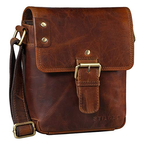 STILORD 'Alessio' Leather Messenger Bag Men Small Vintage Shoulder Bag Men's Bag 8.4' Vintage Design Made of Genuine Leather, Colour:Florida - Brown