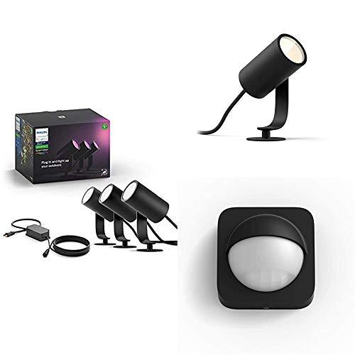 Philips Hue Ambiance Lily - Lámpara LED, Aluminio + Philips Hue Lily Foco inteligente de exterior LED (IP44) + Philips Hue Sensor de Movimiento para Exterior