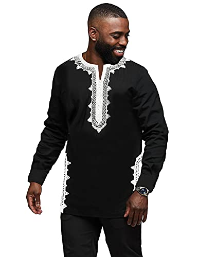 Daupanzees Men Tunic Shirt Caftan Breathable Fiber Half Sleeve Moroccan Cotton Clothing Handmade Unisex Polyester Embroidery T-Shirt Fashion Morocco Ethnic Tops Tee (Black L)