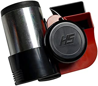 HS RED Chrome Silver Black Loud Motorcycle 12V Air Horn Euro Blast Euroblast for Harley Davidson & Other Bikes (Made in Italy) 139db +