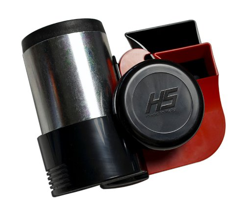 HS RED Chrome Silver Black Extremely Loud Blast Euroblast Twin Air Horn for Motorcycle Car SUV Truck Universal (Made in Italy) 139db + (RED 12V)