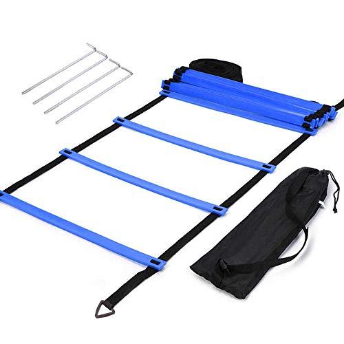 MAOYUTOU Escalera de coordinación, 6 m, 12 peldaños, escalera de agility, ejercicios de coordinación, escalera con bolsa para entrenamiento de coordinación, entrenamiento de fútbol | Speed Ladder