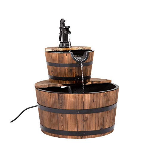 Peach Tree Wooden Waterfall Fountain 2 Tier Garden Yard Decor Rustic Wood Freestanding Fountain with Pump w/Wood Barrel