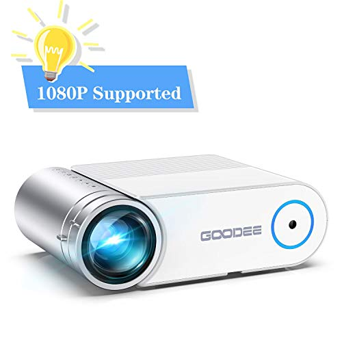 "Projector, GooDee 2020 Upgrade G500 Mini Video Projector, Max 200"" Portable Movie Projector with Carry Bag, Home Theater Projector Support 1080P, Compatible with Fire Stick, PS4, Phone"