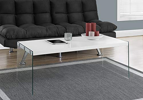 Monarch specialties , Coffee Table, Tempered Glass, Glossy White, 44'L