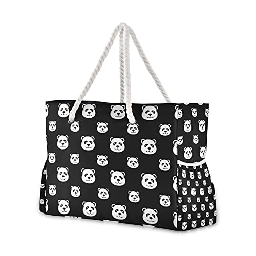Cute Pandas Beach Bags Extra Large for Women Travel Tote Bag Overnight Pool...