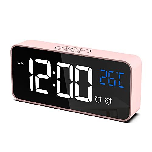 CHEREEKI Sveglia Digitale, LED Sveglia da Comodino con Temperature, 2 Sveglie, Snooze, 12 24 Ore per Casa e Ufficio (Rosa)