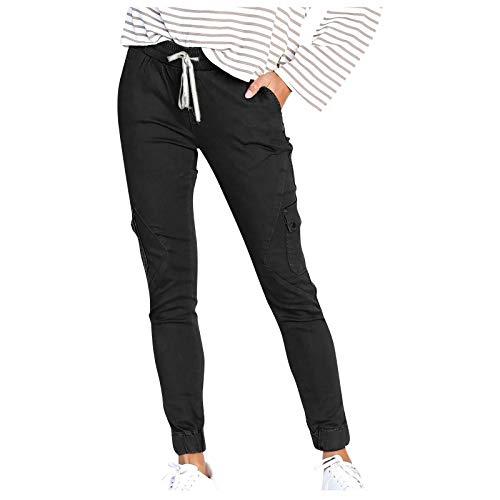 YUNGE Pantaloni da donna, pantaloni da ciclismo da donna, pantaloni cargo da donna, pantaloni casual di contrattuale, multi-tasca, (#001) Nero, XL