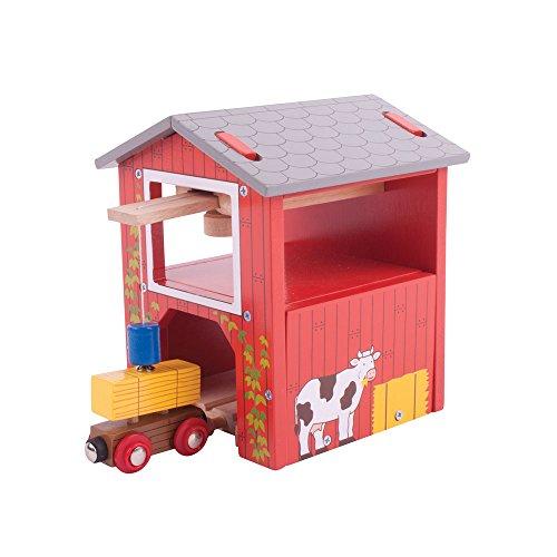 Bigjigs Rail Grange à Foin   Train en Bois   Circuit Train Bois   Jouet Enfant   Jouet Éducatif   Cadeau Enfant   Jouet en Bois   Compatible avec Autre Marques de Train en Bois