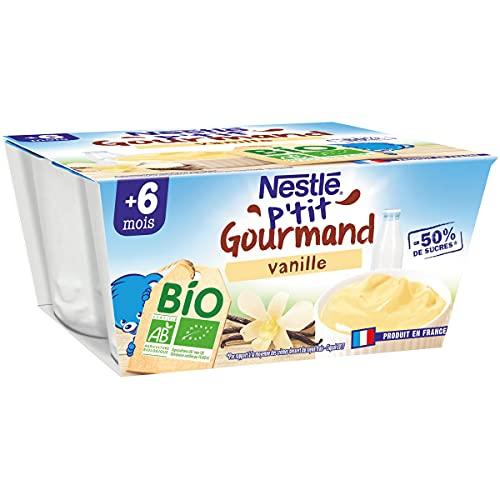 Nestlé bébé P'tit gourmand BIO Vanille - Laitage dès 6 mois - 4x90g - lot de 6