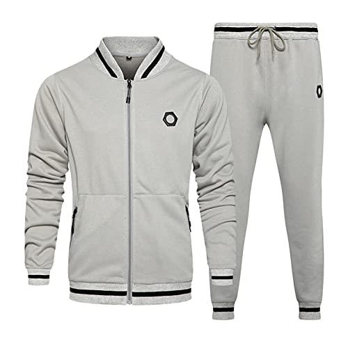 Men's Tracksuit 2 Piece Athletic Sweatsuits Solid Color Full Zip Up Sweatsuits Running Jogging Sport Suit Sets Activewear